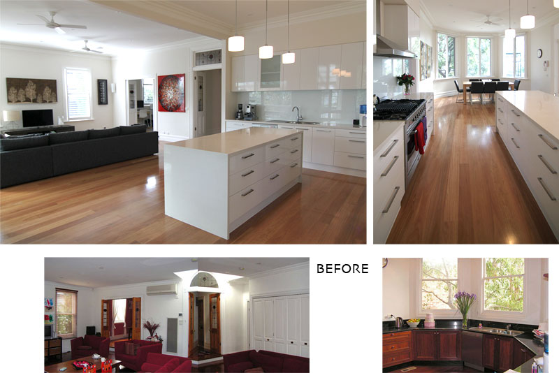 kitchen before & after views of an addition in hawthorn