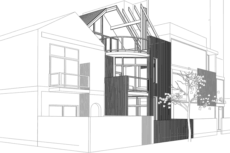 3 storey residential addition side perspective