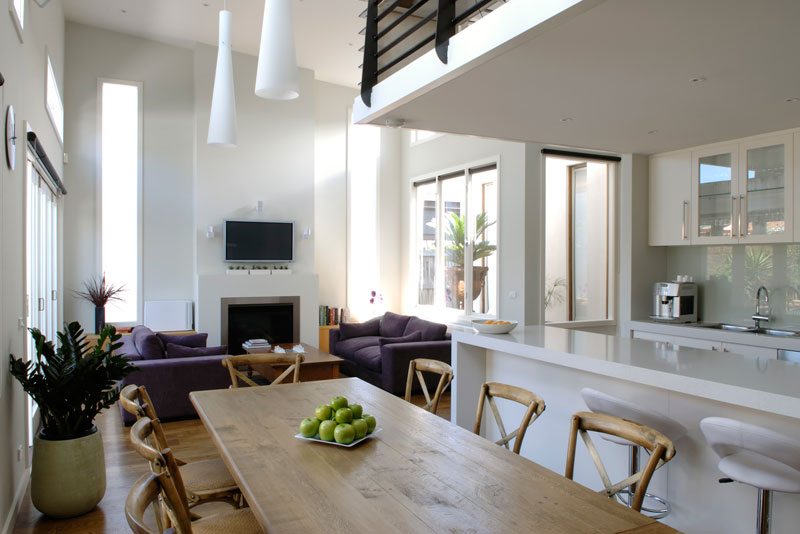 lofty living & dining room addition in Richmond