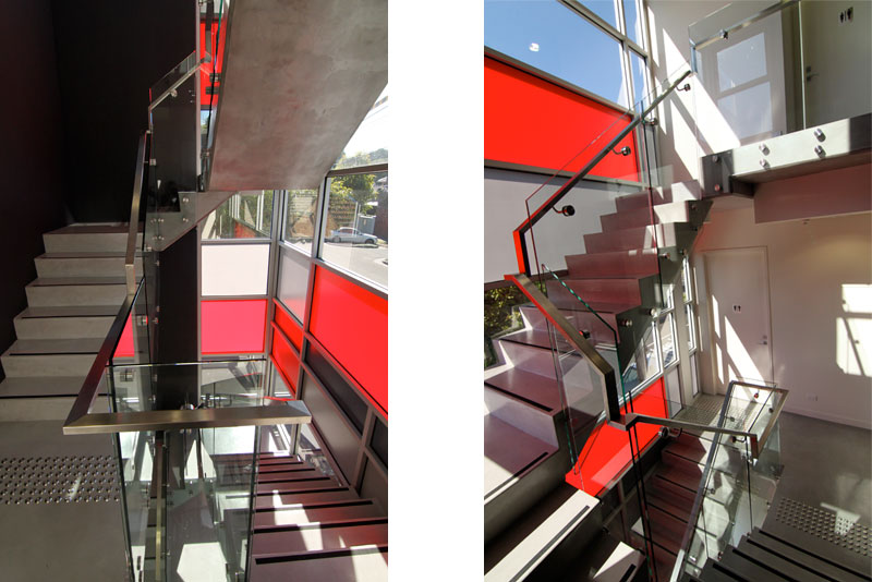 office stair red glazing
