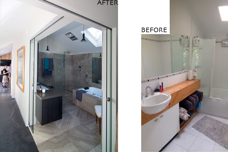 hotel-style bathroom, before and after