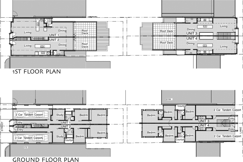 plans of 4 townhouses along lane